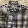 Mens Peter Millar LS Purple Blue Gray Gingham Check Casual Shirt Medium