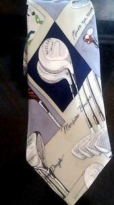 Nicole Miller Necktie Golf Theme Mens 100% Silk 1995