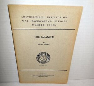 Smithsonian Institution 1943 War Background Studies The Japanese by John Embree