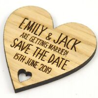 Wedding Save The Date Magnets - Personalised Wooden Heart Shaped Fridge Magnet