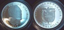 Panamá 1972, 20 balboas, Simon Bolívar, plata 925, 131,69g pp en cápsula
