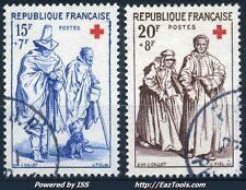 FRANCE SERIE CROIX ROUGE N° 1140/1141 AVEC OBLITERATION