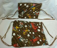 Child's Chair Pads in Vintage Fabric Western Print Seat Back and Seat Bottom Tie