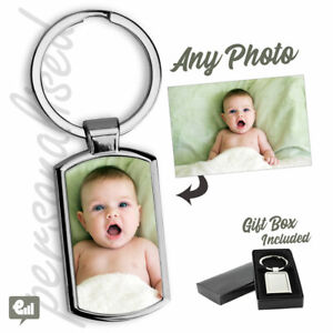 Personalised PHOTO Keyring Free Gift Box - add Custom Picture or Logo Keychain