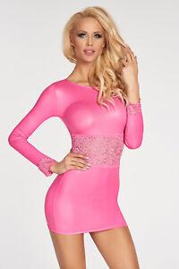 7HEAVEN WETLOOK KLEID PINK lack glanz clubwear spitze rosa transparent langarm
