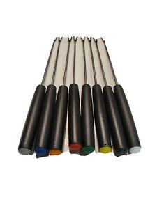 """Vtg Fondue Forks Oster Stainless Steel 9"""" Black Handles Color Dots Set Japan"""