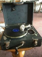 Antique Suitcase Phonograph Gramophone Record Player Hand Crank Portable WORKS!!