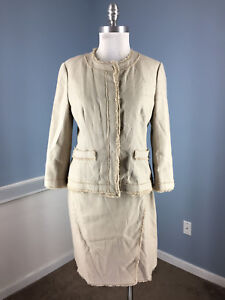 New Ann Taylor Skirt Suit M 8 Taupe Brown Fringe Cotton Blend Career