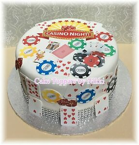 PRECUT Edible CASINO Icing Cake Toppers Playing Cards Poker Chips Vegas Dollars