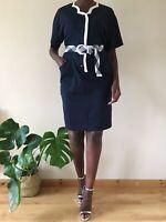 Luisa Spagnoli vintage 80's Dress Navy and white size M UK 10-12 cotton