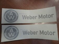 "AW WEBER MOTOR DECAL PAIR (2) 8 3/8"" X 2 1/4"" BLACK / GRAY MARINE BOAT"