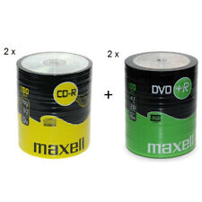 MAXELL 100Pk DVD+R And CD-R Blank Recordable Disc CDs CDR DVDR 2 Pack's Of Each