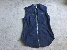G STARR RAW denim women's stretch gilet / vest / sleeveless sht with Zip size L