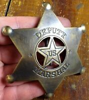 Deputy US Marshal 6 Point Double Star Shape Antique Brass Pinback Old West Badge