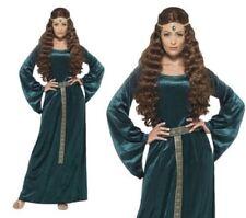 Medieval Maiden Ladies Emerald Queen Fancy Dress Costume S-XXL