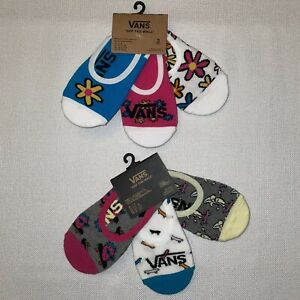 VANS Women's No Show Sock Liners Strawberries AND Florals TWO 3 Packs 1 - 6