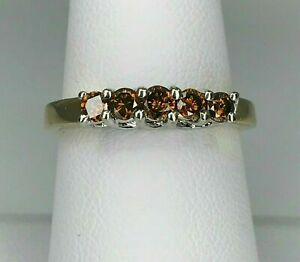 925 Silver 14k Yellow Gold FN 0.60CT Chocolate Brown Champagne Diamond Band Ring