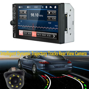 7in Touch Screen Car Stereo MP5 Player BT Radio 2 DIN+8LED Dynamic Track Camera