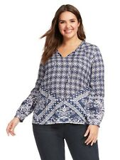 new TOLANI tunic flowy blouse colby shirt top in scarf print 3X CUTE!