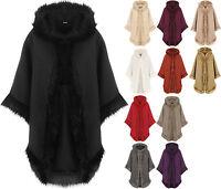 New Womens Plain Faux Fur Trim Hood Cape Shawl Cloak Ladies Poncho Coat Top 8-20