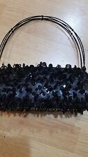 Women's Black Small Cocktail Dinner Clutch Bag Purse Beaded Handle New w/o tag