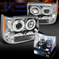 93-96 Jeep Grand Cherokee Chrome Halo Projector Headlights+H3 Halogen Bulbs