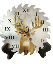"""Deer Hunting Buck 7 1/4"""" REAL Saw Blade Clock hand crafted 14 pointer"""
