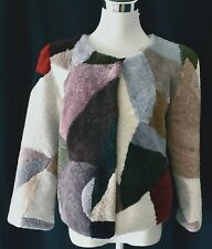 MADAME HELENE FURS LUXE SHEEP SKIN JACKET MULTI COLOR REAL FUR 3/4 SLEEVES L NWT