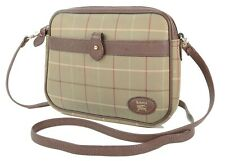 Authentic Burberrys Brown Check Canvas and Leather Shoulder Bag Purse #34800