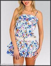 RX1 New Sexy Blue Multi-color Floral Little Mini Rave Cocktail Club Dress S M L