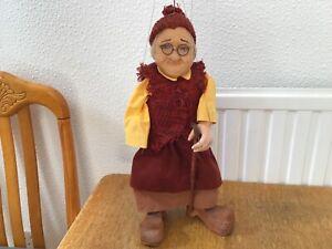 """Vintage marrionette/string puppet 16.5"""" high German Origen"""