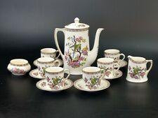 More details for art deco coffee set by crown ducal ware england parrot pattern 1059