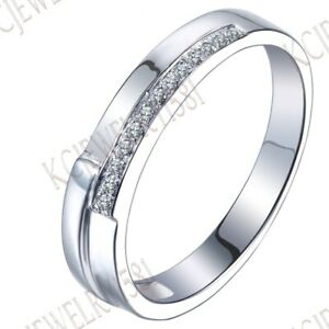Sale Solid 14K White Gold Pave Cubic Zirconia Ring Engagement Anniversary Band