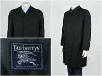 Mens Vintage 90s Burberry London Overcoat Coat Jacket Black Wool Size 40 Short