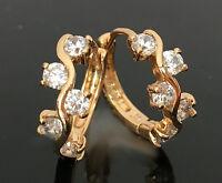 Luxus Ohrringe Creolen Cubik Zirkonia weiß 750er Gold 18 Karat vergoldet  Neu!