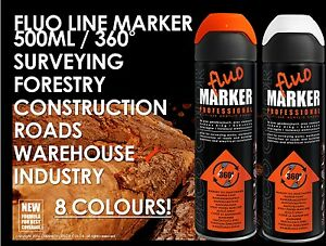 DECOCOLOR LINE MARKER SPRAY PAINT SURVEYING WAREHOUSE ROAD FORESTRY FLUO MARKING