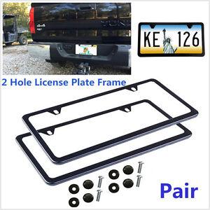 2Pcs Slim Black Stainless Steel License Plate Frame Screw Caps & 2 Hole Bracket