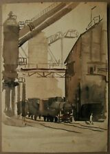 Russian Ukrainian Soviet Watercolor realism industrial painting engine plant 50s