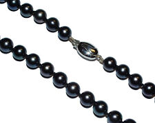 "22"" Black Stained Cultured Pearl Necklet With 9ct White Gold Clasp (WAS £300)"
