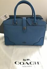 COACH 57690 LAPIS MIXED LEATHER MERCER 30 BLUE LARGE SATCHEL PURSE NEW $395