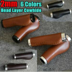 2pcs Vintage Bike Handlebar Grips Retro Genuine Leather Lock-on Bicycle Grips