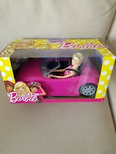 Barbie pink convertible car plus doll