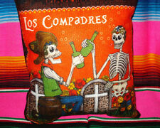 Day Of The Dead Beer Compadres Sugar Skull Fabric Pillow Dia De Los Muertos 3