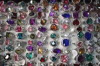 LOT DE 5PCS bague couleur plaqué argent solitaire zircon effet diamant