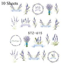 5/10 Sheets Purple Lavender Water Transfer Flower Stickers Nail Art Decoration