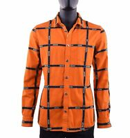 MOSCHINO COUTURE RUNWAY Jeans Jacket Shirt Logo Stripes Orange Black 05401