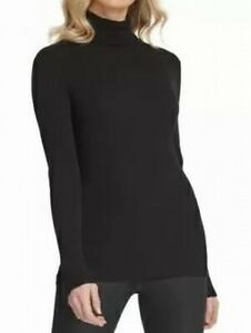 DKNY Women's Sweater Black Size Small S Ribbed Knit Turtleneck Pullover $69 #068