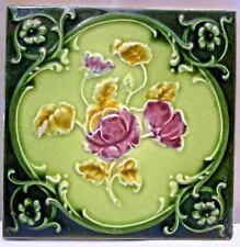 TILE ENGLAND ART NOUVEAU MAJOLICA PORCELAIN ROSE DESIGN ARCHITECTURE VINTAGE#133
