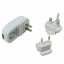 Travel Plug Power Adapter UK EU Pin US Universal Converter USB Mains White