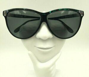 Vintage Sophia Loren L100 Black Green Oversized Cat Eye Sunglasses FRAMES ONLY